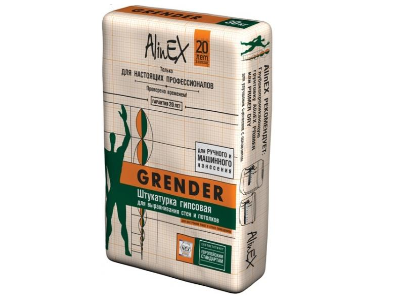 """Штукатурка гипсовая универсальная """"AlinEx GRENDER"""" 30 кг."""