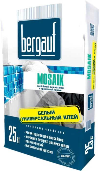 Клей Bergauf Keramik Mozaik на бел.цементе для прозрачной плитки мозайки 25кг