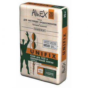 Клей строительный ALINEX Unifix для ГКЛ и керамической плитки, 25 кг.