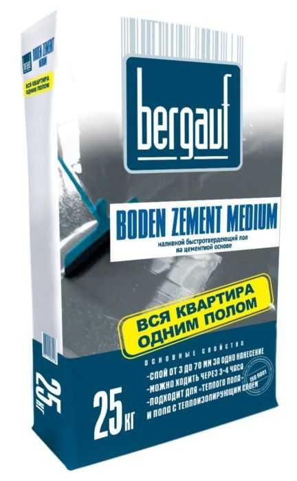 Наливной пол Bergauf BODEN Zement Medium на цементной основе 25кг