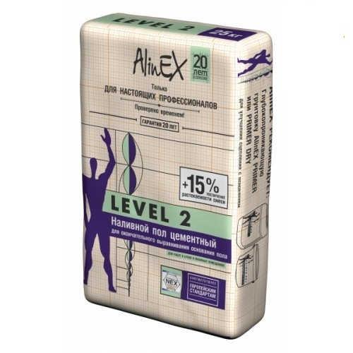Наливной пол для окончательного выравнивания AlinEX LEVEL 2, 25кг